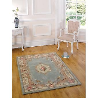 Lotus Aubusson Green  Rectangle Rugs Traditional Rugs
