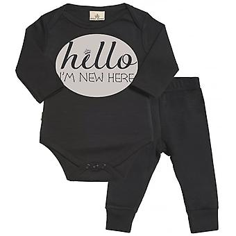 Spoilt Rotten Hello World I Am New Here Babygrow & Jersey Trousers Outfit Set