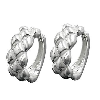 Silver Creole cabled partially frosted hoop earrings 925 sterling silver
