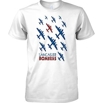 Lancaster bombardeiros Pop Art Design-WW2 Bomber Command-Mens camiseta