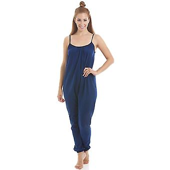 Camille Womens Sleeveless Jersey Cotton Navy Blue Jumpsuit Onesie