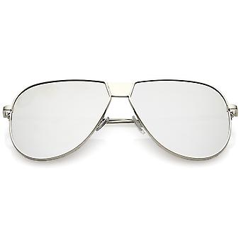 Oversize Metal Aviator Sunglasses With Color Mirror Flat Lens 61mm