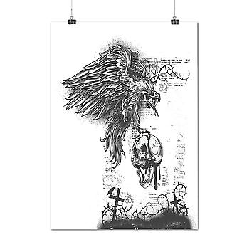 Matte or Glossy Poster with Eagle Skull Death Horror | Wellcoda | *d1267