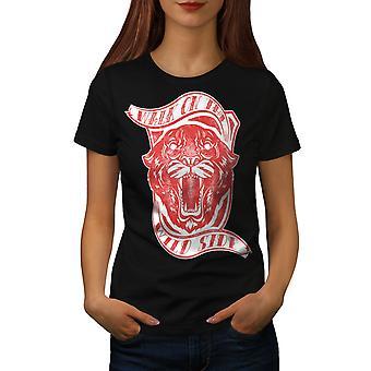 Côté sauvage tigre Slogan BlackT-chemise femme   Wellcoda