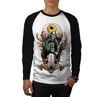 Ojo calavera Horror Fantasy hombres blanco camiseta de (mangas negro) béisbol LS | Wellcoda