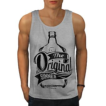 Unique Sinner Funny Men GreyTank Top | Wellcoda