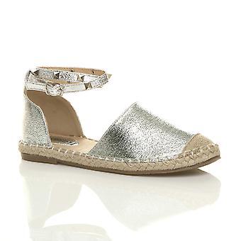 Alpargatas de Ajvani womens plana studded tobillo correa zapatos sandalias de verano