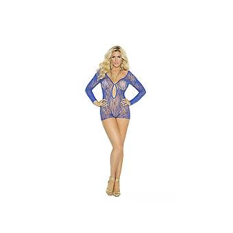 Elegant Moments EM-1593Q Long Sleeve Lace Romper With Keyhole Front