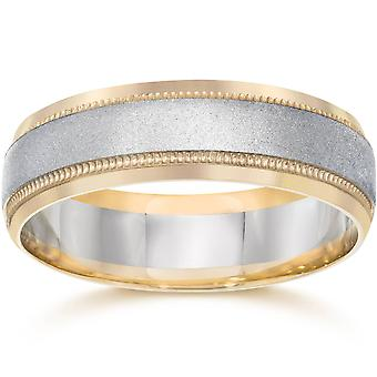 Mens White & Yellow Gold Two Tone Wedding Ring Band 14K