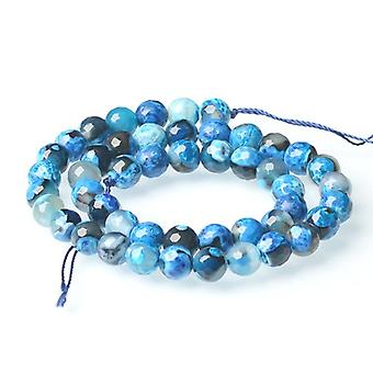 Strand 40+ Blue/Black Agate 8mm Faceted Round Beads CB52134