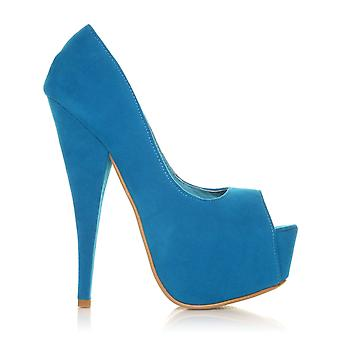 PEEPTOE Turquoise Faux Suede Stiletto Very High Heel Platform Peep Toe Shoes