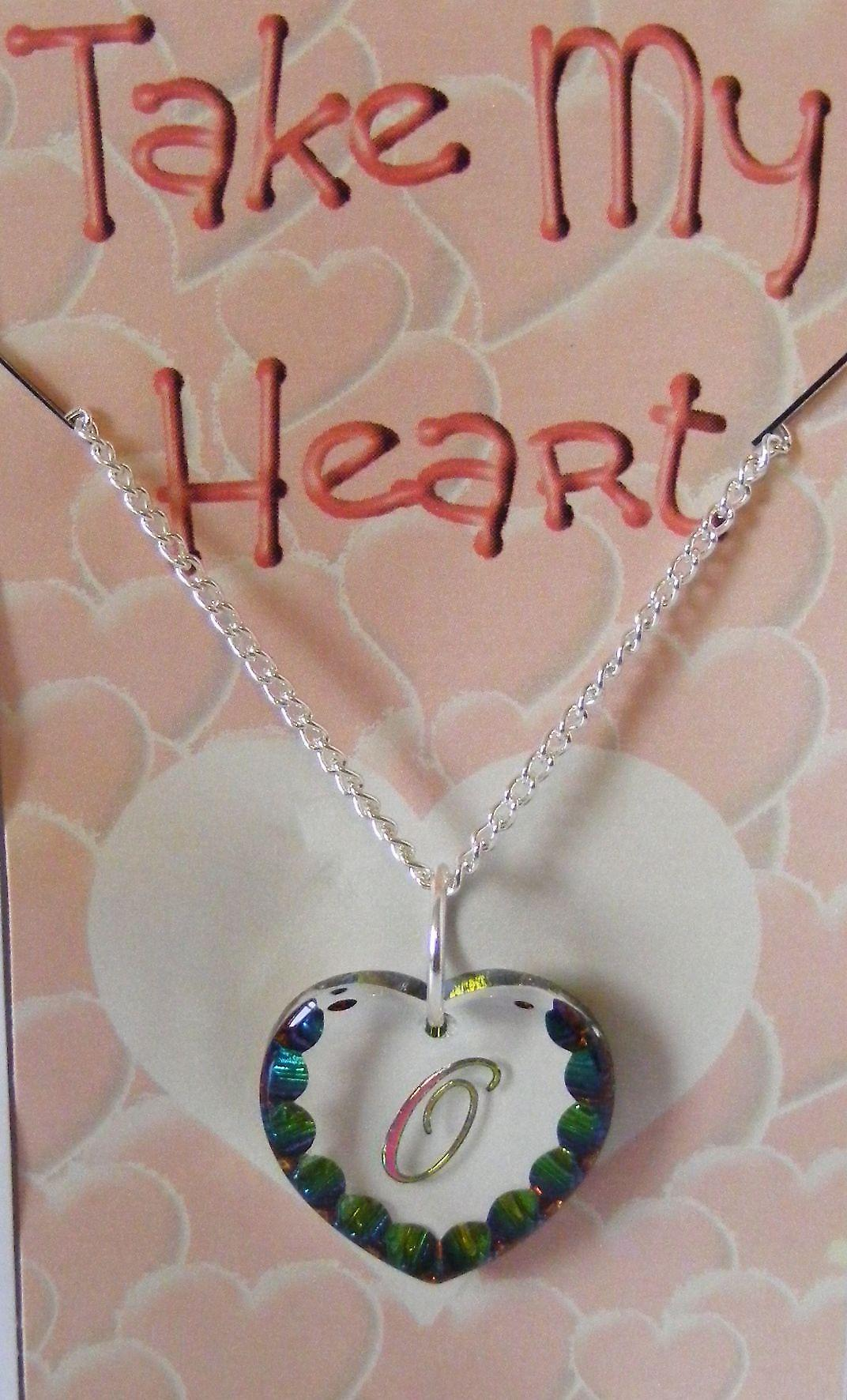 Heliotrope Initial Heart Crystal Pendant - O