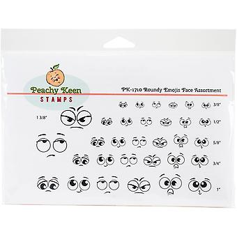 Peachy Keen Stamps Clear Face Assortment 32/Pkg-Roundy Emojis