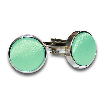Mint Green Plain Satin Cufflinks