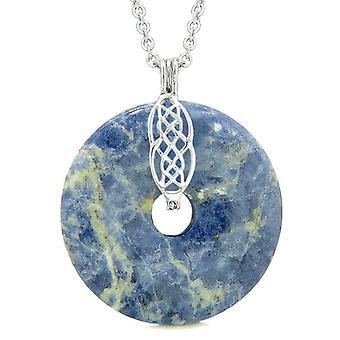 Store keltiske skjold knude beskyttelse magiske kræfter Amulet sodalit heldig Donut vedhæng halskæde