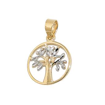 Pendant 12mm tree of life of bicolor 9Kt GOLD