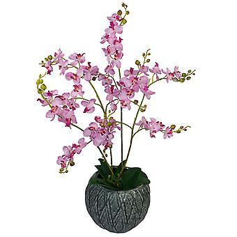 60cm Artificial Luxury Orchid - Triple Stem - Pink Realistic Plant