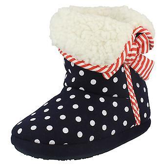 Junior Girls Clarks Polka Dot Bootee Slippers Sleep Walk