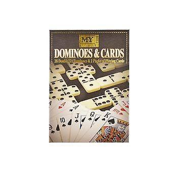 2 In 1 Games - Double Six Dominoes & 2 Packs of Playing Cards - Family Games - Classic Board Games