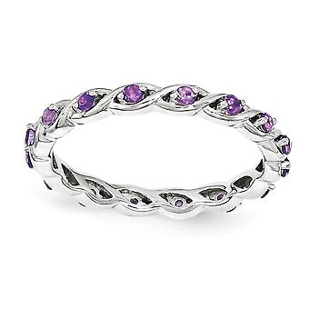 2.5mm 925 Sterling Silver Polished Prong set Rhodium-plated Stackable Expressions Amethyst Ring - Ring Size: 5 to 10