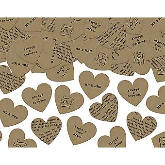 Wedding Phrase Heart Shaped Kraft Paper Confetti - 3g Bag | Sequins for Crafts