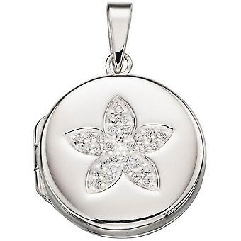 Början bana blomma medaljong Pendant - Silver