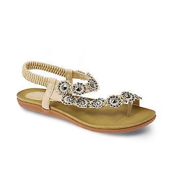 De comfortabele Casual zomer dames Diamante bloem sandalen vrouw vastgebonden schoenen