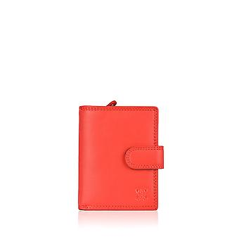 11.5cm Leather Tab Purse in Red