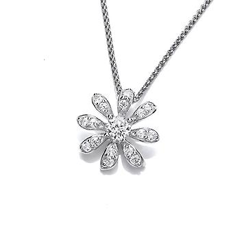"Cavendish French CZ and Sterling Silver Daisy Pendant with 16 - 18"" Silver Chain"
