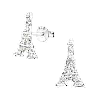 Eiffel Tower - 925 Sterling Silver Cubic Zirconia Ear Studs - W19034x
