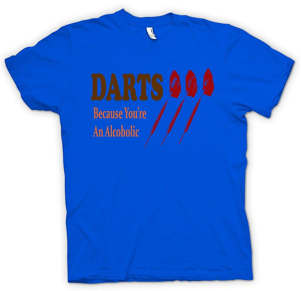 Mens T-shirt - Darts Cos je bent een alcoholist - grappig