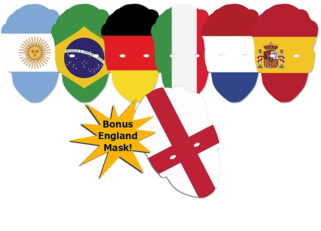 World Cup Football Contenders Flags Party Card Face Mask Pack of 6 + bonus England Flag Card Face Mask