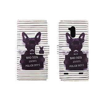 Mobile phone case pouch for mobile ZTE blade V7 Lite of bad dog white