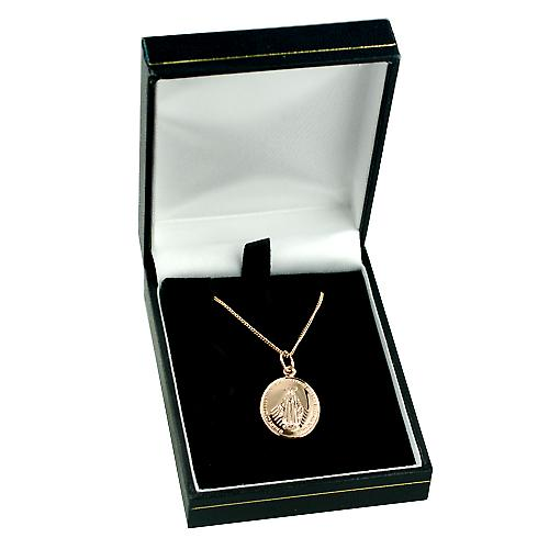 9ct Rose Gold 20x16mm Miraculous Medallion Medal with a curb Chain 16 inches Only Suitable for Children