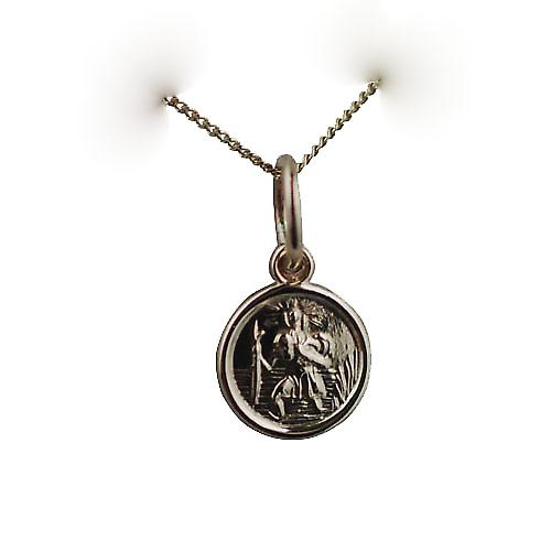 9ct Gold 8mm round St Christopher Pendant with a curb Chain 16 inches Only Suitable for Children