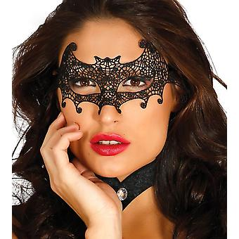 Womens Black Embroidered Bat Eye Mask Fancy Dress Accessory