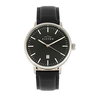 Elevon Vin Leather-Band Watch w/Date - Silver/Black