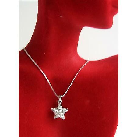 Bling Bling Cubic Zircon Star Pendant w/ Cubiz Zirconia Necklace