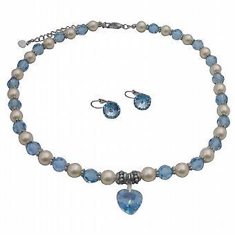 Swarovski Cream Pearls Aquamarine Crystals Heart Pendant Necklace Set
