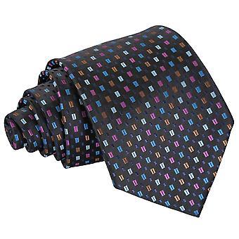 Svart med blå og rosa bohemske geometriske klassisk slipset