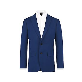 Dobell Mens Bright Blue 2 Piece Suit Slim Fit Peak Lapel