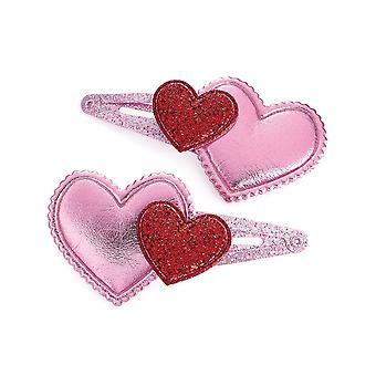 Girls pack of 2 pink heart glitter hair clips