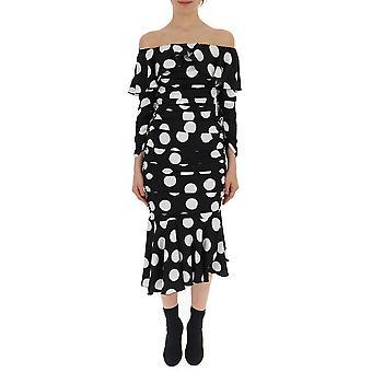 Dolce E Gabbana White/black Silk Dress