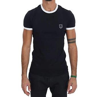 Black Cotton Stretch Crewneck T-Shirt -- TSH1071600