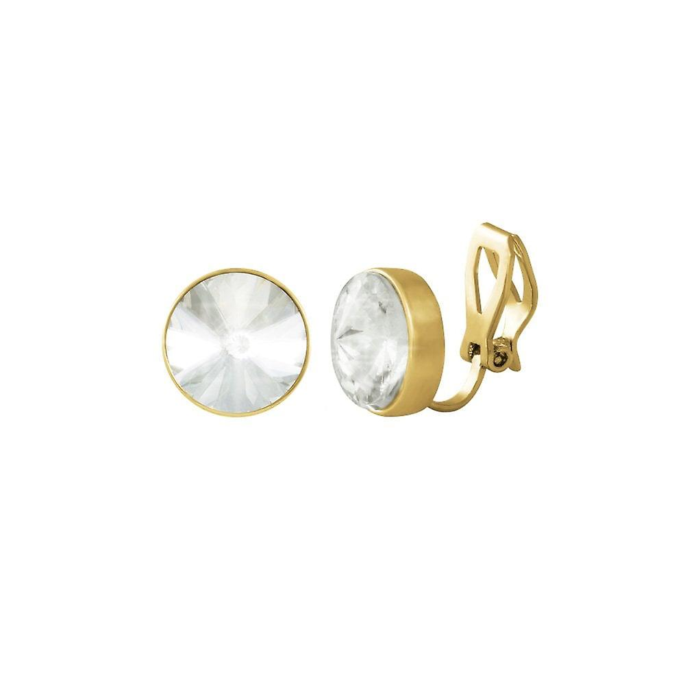 Eternal Collection Treasure Clear Crystal Gold Tone Stud Clip On Earrings