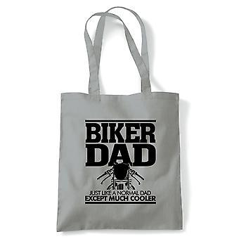 Biker pappa mens rolig motorcykel present Tote | Motorcykel Scooter Street Cafe racer ryttare Sidecar | Återanvändbara shopping bomull canvas lång hanteras Natural Shopper miljö vänligt mode
