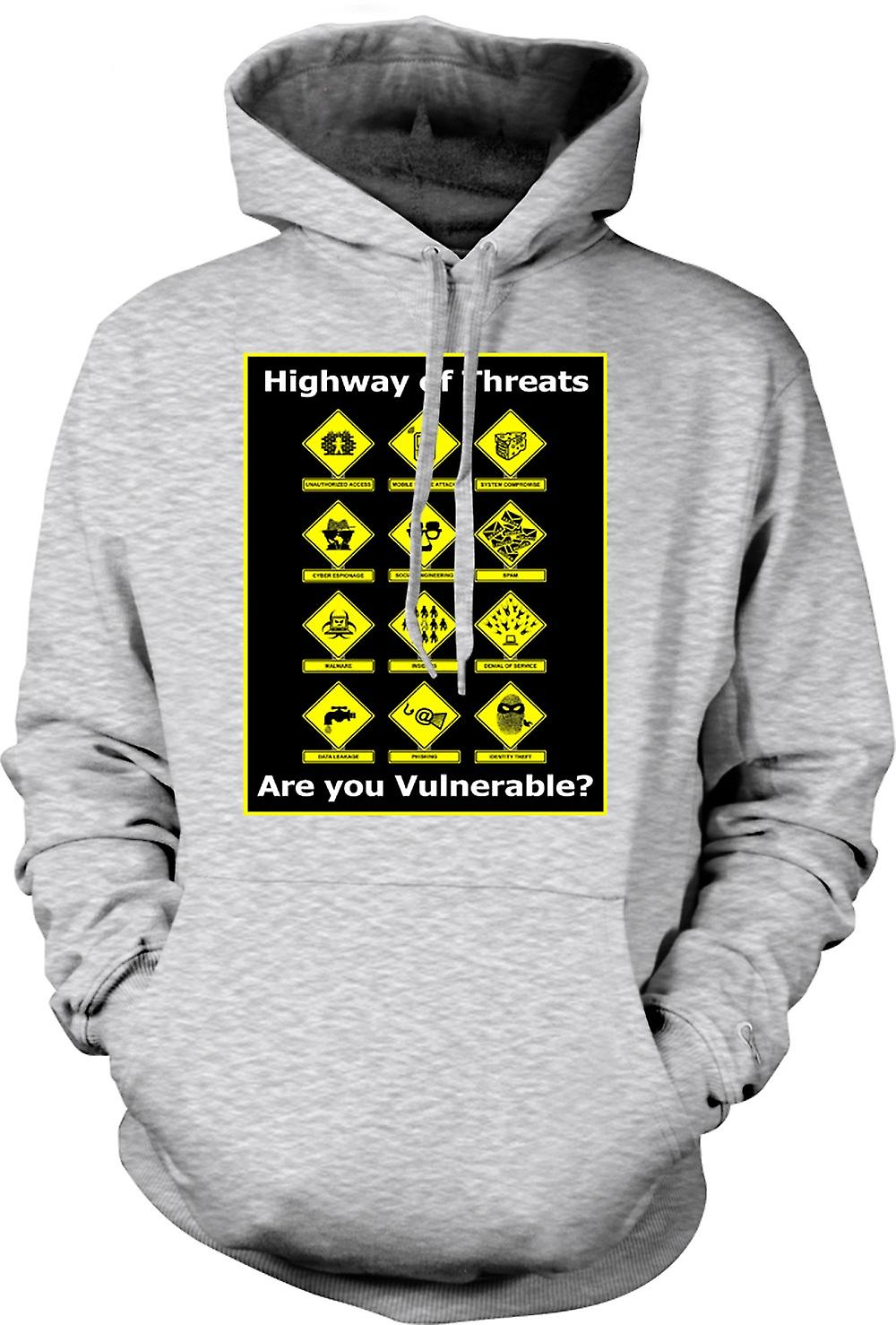 Mens Hoodie - Internet Security Threats - Funny