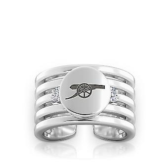 Arsenal Fc Cannon Logo Engraved Multiband Cuff Ring