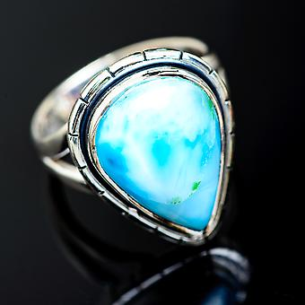 Larimar Ring Size 7.5 (925 Sterling Silver)  - Handmade Boho Vintage Jewelry RING955483
