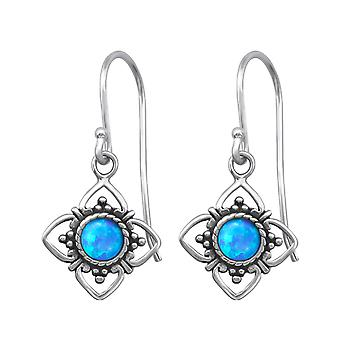 Flower - 925 Sterling Silver Opal and Semi Precious Earrings - W23629X